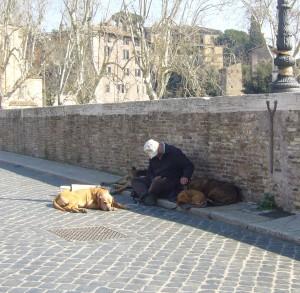 Hjemløs på Ponte Fabriccio